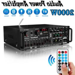 2000W 2Channel EQ 110V Bluetooth Home Stereo Power Amplifier
