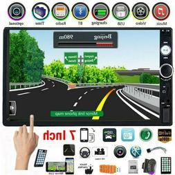 """Car Stereo Radio 7"""" Double 2 Din Bluetooth Audio Receiver US"""