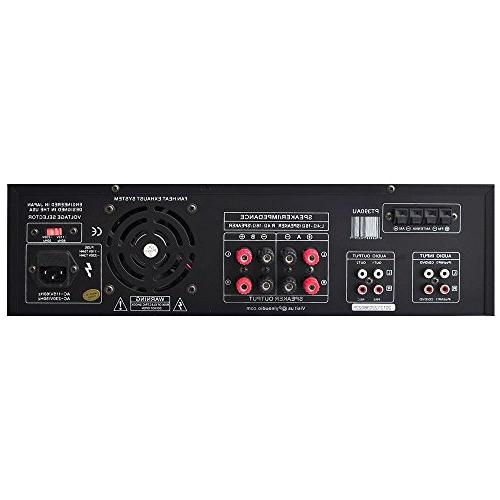 Home Audio Power System 4 Channel Theater Power Sound Receiver w/ RCA, Mic w/ Echo, Remote - For iPhone, PA, Studio - Pyle