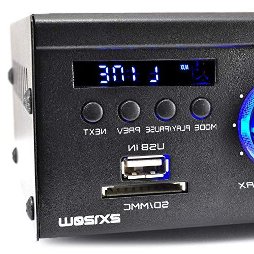 2x120W Bluetooth Audio Amplifier - 2 Channel Mini Stereo Entertainment Receiver CD, Theater 3.5mm Input, Pyle