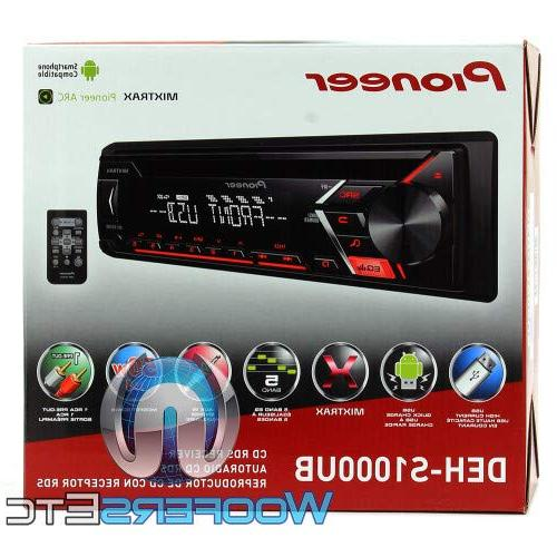 Pioneer DEH-S1000UB DIN In-Dash CD, CD-R/RW, Front and Auxiliary Plate w/ MIXTRAX and Support / EARBUDS