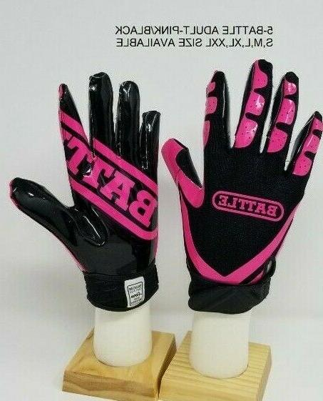 Battle Football Gloves PINK/Black Adult Youth